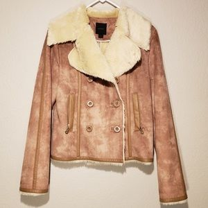 Faux Suede Shearling Lined Peacoat